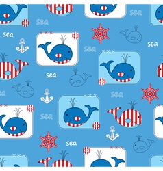 Seamless pattern with whales 2 vector