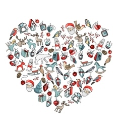 Decorative heart with christmas decoration vector