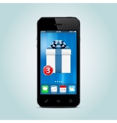 Smartphone with new gift box app on the screen vector
