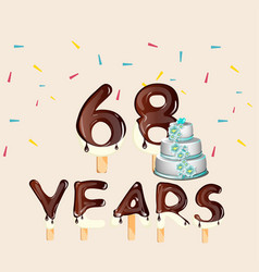 68 years happy birthday card vector image