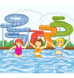 Kids playing in the swimming pool vector