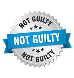 Not guilty 3d silver badge with blue ribbon vector