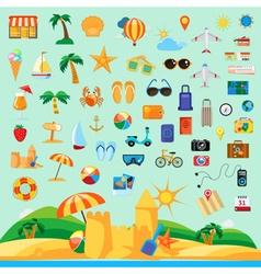 Beach holiday icon set flat design vector image