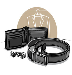 belt and wallet vector image