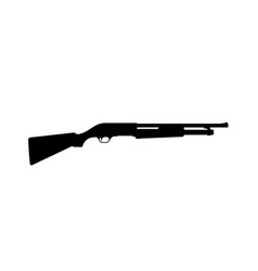 black silhouette of shotgun on white background vector image vector image