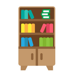 Bookshelf flat icon furniture and interior vector
