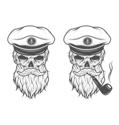 Captain Skull Two options vector image vector image