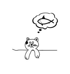 Cat dream fish cartoon vector