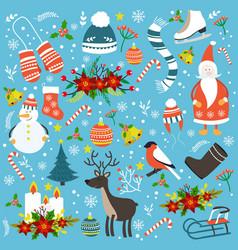 christmas hand drawn seamless pattern vector image