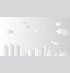cityscape with clouds paper art style vector image