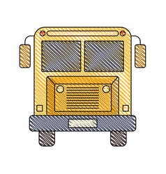 Color crayon stripe image of front view school bus vector