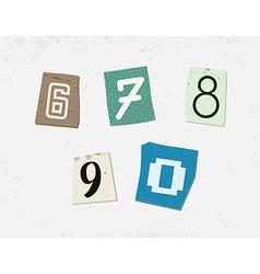 Colorful newspaper cut numbers set vector
