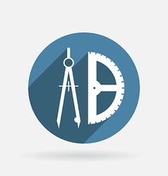 compass and protractor Circle blue icon with vector image