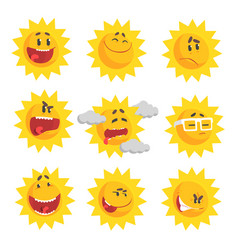 cute cartoon sun emojis emotional face set of vector image vector image