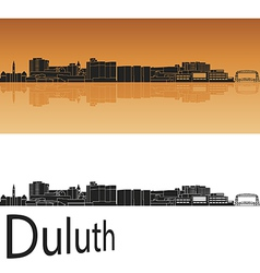 Duluth skyline in orange background vector image vector image