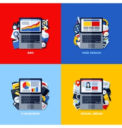 Flat concepts of seo web design e-business media vector