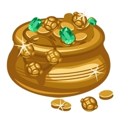 Golden pot with coins and emeralds vector image