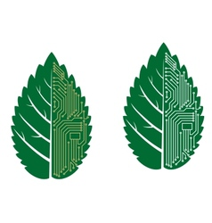 Green leaf with computer and motherboard elements vector image