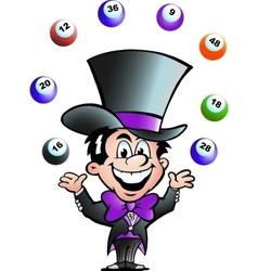 Hand-drawn of an juggling bingo man vector