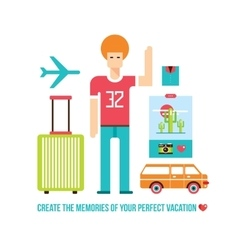 Happy young hipster male Summer trip Travel vector image vector image