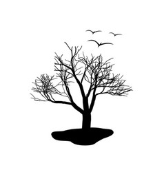Lonely tree and a flock of birds black and white vector