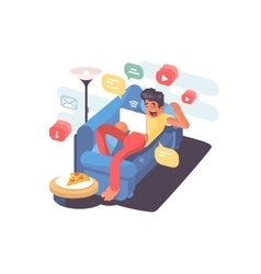 Man lying on couch with tablet vector