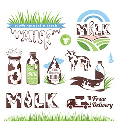 Milk and creamery badges vector image vector image