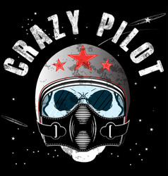 Pilot skull t shirt graphic design vector