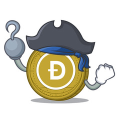 Pirate dogecoin character cartoon style vector