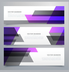 Purple and gray geometric shapes buisness banners vector