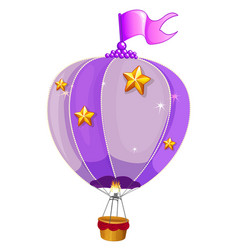 Purple balloon flying on white background vector