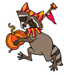 raccoon in jester costume carries a pumpkin vector image