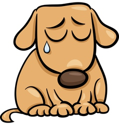 Sad dog cartoon vector