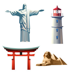 set icons on the theme of travel vector image