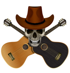 skull wearing a cowboy hat on a background of vector image