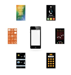 The mobile phone with a set of icons vector image