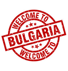 Welcome to bulgaria red stamp vector