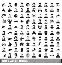100 avatar icons set simple style vector