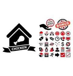 Chicken cafe flat icon with bonus vector