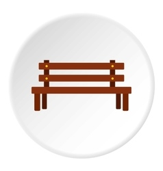 Wooden bench icon flat style vector