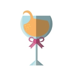 beautiful cup glass wine with ribbon icon vector image