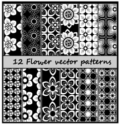 12 fower pattern vector