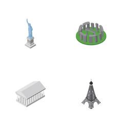 isometric cities set of paris new york athens vector image