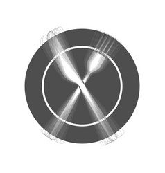Fork knife and plate sign  gray icon vector