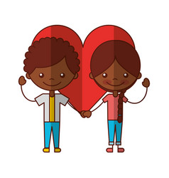 Cute black kids with heart characters icon vector
