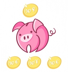 piggy bank and lucky coins vector image