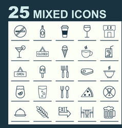 Cafe icons set collection of silverware beverage vector