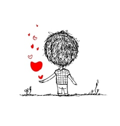 Boy with red heart valentine card sketch for your vector