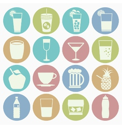 white icons drink vector image