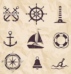 Seafarer set nautical design elements vector